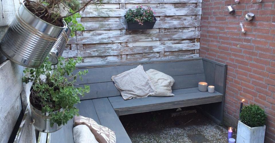 Loungebank, hoekbank steigerhout