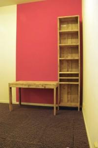 steigerhout, bureau, werktafel