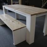 Tafel van steigerhout wit onderstel