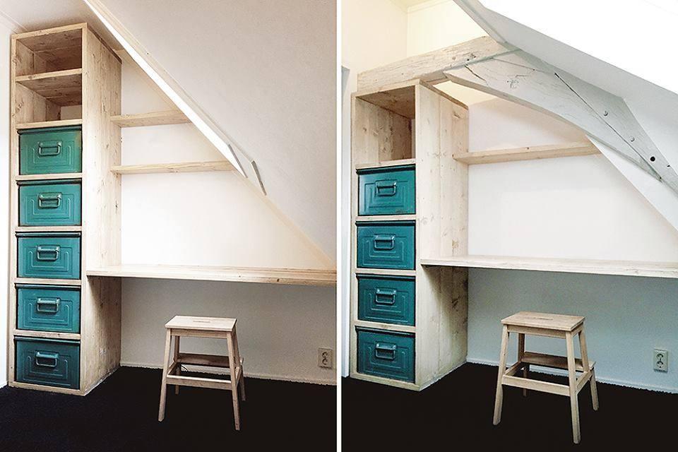 Kasten met bureaus van steigerhout op maat bedden kasten kloostertafels eettafels - Op maat hoogslaper ...