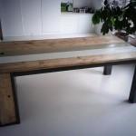 Tafel van steigerhout met opbergruimte antraciet/grijs/wit